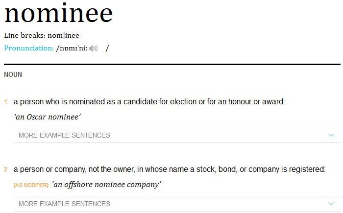 นอมินี-Nominee หมายถึง