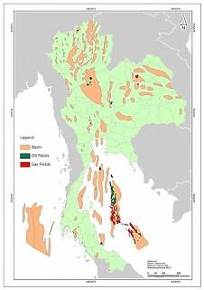 แผนที่ประเทศไทย สำรวจและผลิตปิโตรเลียม